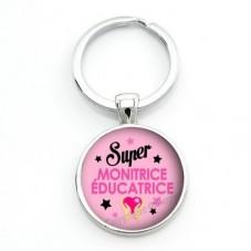"""Porte-clé """"Super Monitrice-Educatrice"""" Cadeau Original Humour Anniversaire Noël pour la Création de Bijoux Fantaisie - DIY"""