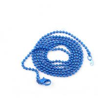 Collier Chaîne à Bille Bleu 65cm pour la Création de Bijoux Fantaisie - DIY