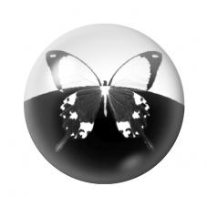 Cabochon en Verre Illustré Papillon Noir et Blanc 12 à 25mm pour la Création de Bijoux Fantaisie - DIY