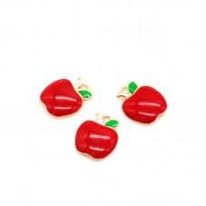 4 Breloques Fruit Pomme Émail Rouge Métal Doré 14x11mm pour la Création de Bijoux Fantaisie - DIY