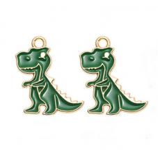 2 Breloques Dinosaure Émail Vert Métal Doré 23x19mm pour la Création de Bijoux Fantaisie - DIY
