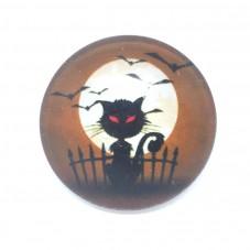 Cabochon en Verre Illustré Chat Gothique Halloween 25mm pour la Création de Bijoux Fantaisie - DIY