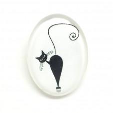 Cabochons en Verre Illustré Chat Noir et Blanc 18x25mm pour la Création de Bijoux Fantaisie - DIY