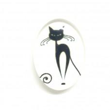 2 Cabochons en Verre Illustrés Chat Noir et Blanc 18x25mm pour la Création de Bijoux Fantaisie - DIY