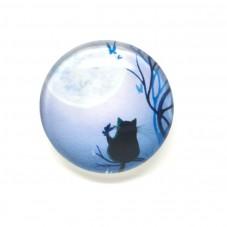 Cabochons en Verre Illustré Chat Lune 25mm pour la Création de Bijoux Fantaisie - DIY