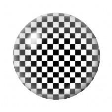 Cabochon en Verre Illustré Damier Noir et Blanc 12 à 25mm pour la Création de Bijoux Fantaisie - DIY