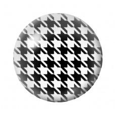 Cabochon en Verre Illustré Pied-de-Poule Noir et Blanc 12 à 25mm pour la Création de Bijoux Fantaisie - DIY