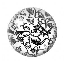Cabochon en Verre Illustré Fleurs Noir et Blanc 12 à 25mm pour la Création de Bijoux Fantaisie - DIY