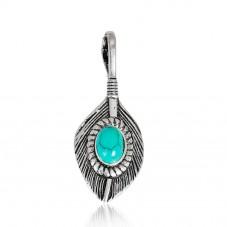 Breloque Plume de Paon avec Imitation Turquoise 37x15mm pour la Création de Bijoux Fantaisie - DIY