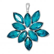 Grand Pendentif Argenté Fleur Bleu Paon 5,3x4,5cm pour la Création de Bijoux Fantaisie - DIY