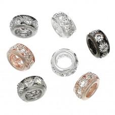 10 Perles 10mm en Métal avec Strass à Gros Trou 5,4mm  pour la Création de Bijoux Fantaisie - DIY