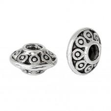 20 Perles Bicônes en Métal Argenté 6x4mm pour la Création de Bijoux Fantaisie - DIY