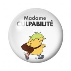 """Cabochon en Verre Illustré """"Madame Culpabilté"""" Humour 12 à 25mm pour la Création de Bijoux Fantaisie - DIY"""