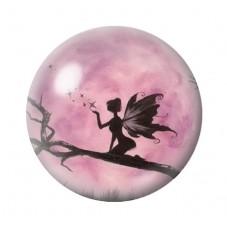 Cabochon en Verre Illustré Fée Lune Rose 12 à 25mm pour la Création de Bijoux Fantaisie - DIY