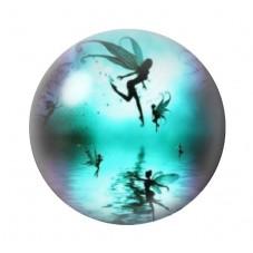 Cabochon en Verre Illustré Fée Lune Bleue 12 à 25mm pour la Création de Bijoux Fantaisie - DIY