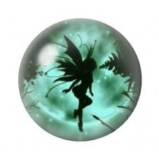 Cabochon en Verre Illustré Sihouette Fée Lune Verte12 à 25mm pour la Création de Bijoux Fantaisie - DIY