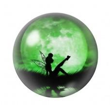 Cabochon en Verre Illustré Fée Lune Verte 12 à 25mm pour la Création de Bijoux Fantaisie - DIY