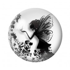 Cabochon en Verre Illustré Fée Noir et Blanc 12 à 25mm pour la Création de Bijoux Fantaisie - DIY