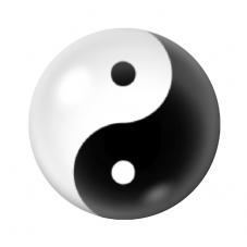 Cabochon en Verre Illustré Yin Yang Noir et Blanc 12 à 25mm pour la Création de Bijoux Fantaisie - DIY