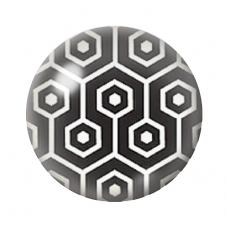 Cabochon en Verre Illustré Octogone Noir et Blanc 12 à 25mm pour la Création de Bijoux Fantaisie - DIY