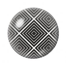 Cabochon en Verre Illustré Carrrés Noir et Blanc 12 à 25mm pour la Création de Bijoux Fantaisie - DIY
