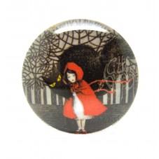 Cabochon en Verre Illustré Le Petit Chaperon Rouge 25mm pour la Création de Bijoux Fantaisie - DIY