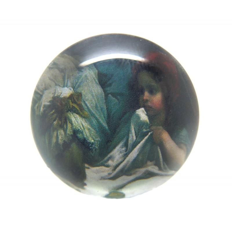 Cabochon en Verre Illustré Le Petit Chaperon Rouge 25mm