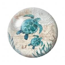 Cabochon en Verre Illustré Tortues de Mer Été 12 à 25mm pour la Création de Bijoux Fantaisie - DIY