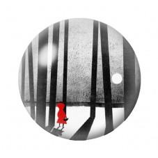 Cabochon en Verre IllustréLe Petit Chaperon Rouge Humour 12 à 25mm pour la Création de Bijoux Fantaisie - DIY