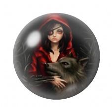 Cabochon en Verre Illustré Le Petit Chaperon Rouge Gothique 12 à 25mm pour la Création de Bijoux Fantaisie - DIY