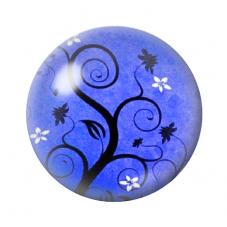 Cabochon en Verre Illustré Arbre Bleu 12 à 25mm pour la Création de Bijoux Fantaisie - DIY