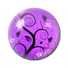 Cabochon en Verre Illustré Arbre Violet 12 à 25mm pour la Création de Bijoux Fantaisie - DIY