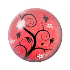 Cabochon en Verre Illustré Arbre Rouge 12 à 25mm pour la Création de Bijoux Fantaisie - DIY