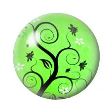 Cabochon en Verre Illustré Arbre Vert 12 à 25mm pour la Création de Bijoux Fantaisie - DIY