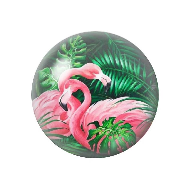 Cabochon en Verre Illustré Exotique Flamants Roses 12 à 25mm