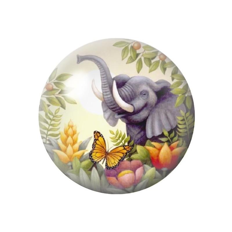 Cabochon en Verre Illustré Exotique Eléphant 12 à 25mm