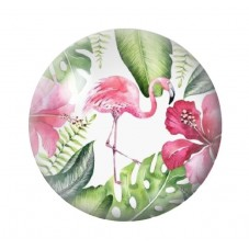 Cabochon en Verre Illustré Exotique Flamant Rose 12 à 25mm pour la Création de Bijoux Fantaisie - DIY