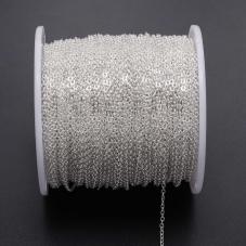 5 Mètres de Chaine Fine à Mailles Argenté 1,5mm pour la Création de Bijoux Fantaisie - DIY