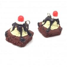 2 Breloques Gâteau au Chocolat en Pâte Polymère 24x17mm pour la Création de Bijoux Fantaisie - DIY