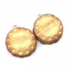 2 Breloques Biscuit Cookies en Pâte Polymère Fimo 20mm pour la Création de Bijoux Fantaisie - DIY