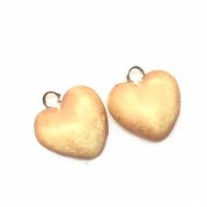 2 Breloques Biscuit Coeur en Pâte Polymère Fimo 18mm pour la Création de Bijoux Fantaisie - DIY