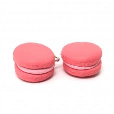 2 Breloques Macaron Rose en Pâte Polymère 15mm pour la Création de Bijoux Fantaisie - DIY