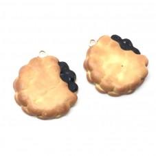 2 Breloques Biscuit Croqué Chocolat en Pâte Polymère Fimo 22mm pour la Création de Bijoux Fantaisie - DIY