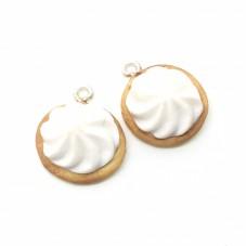 2 Breloques Biscuit Chantilly en Pâte Polymère Fimo 15mm pour la Création de Bijoux Fantaisie - DIY