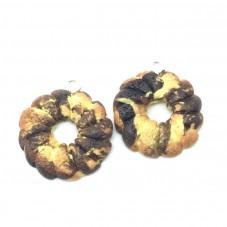 2 Breloques Biscuit Couronne Marbré en Pâte Polymère Fimo 20mm pour la Création de Bijoux Fantaisie - DIY