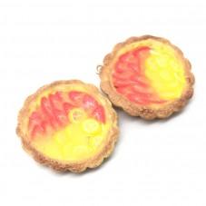 2 Breloques Tartelette Fraise/Citron en Pâte Polymère Fimo 27mm pour la Création de Bijoux Fantaisie - DIY