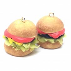 2 Breloques Hamburger en Pâte Polymère Fimo 20x18mm pour la Création de Bijoux Fantaisie - DIY