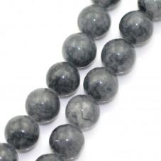 5 Perles Pierre Naturelle Agate Translucide Gris Foncé 8mm pour la Création de Bijoux Fantaisie - DIY