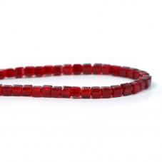 100 Perles Carrées en Verre à Facettes Rouge Foncé 3mm pour la Création de Bijoux Fantaisie - DIY