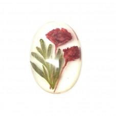 Cabochon en Résine avec Véritables Fleurs Séchées 18x25mm pour la Création de Bijoux Fantaisie - DIY